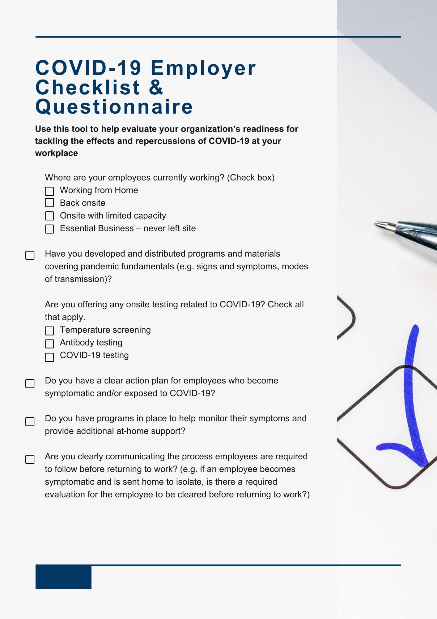 COVID-19 Employer Checklist & Questionnaire